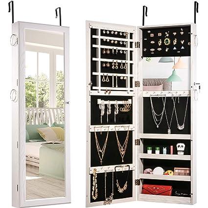Attirant Jewelry Organizer Jewelry Armoire Lockable Jewelry Chest Jewelry Cabinet  Wall Door Mounted Full Length Mirror Dressing