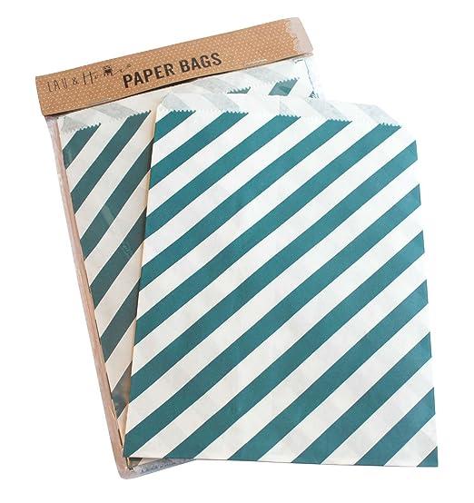 6 opinioni per Sacchetto di carta a righe party 25 / caramelle dolci regalo, 13x18cm- Navy
