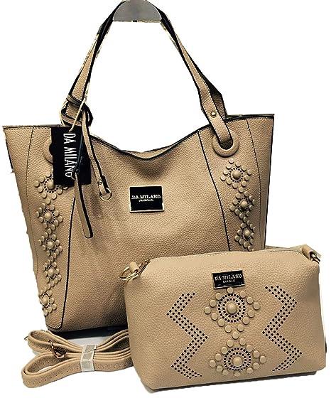 ab4f0fd76 Da Milano Ladies Hand Bag mud color 17 11 inches  Amazon.in  Clothing    Accessories