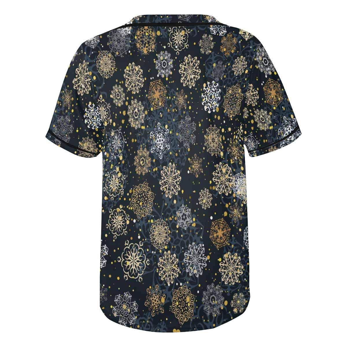 INTERESTPRINT Mens Hipster Short Sleeve Full Button Baseball Jersey Shirts Christmas Snowflake
