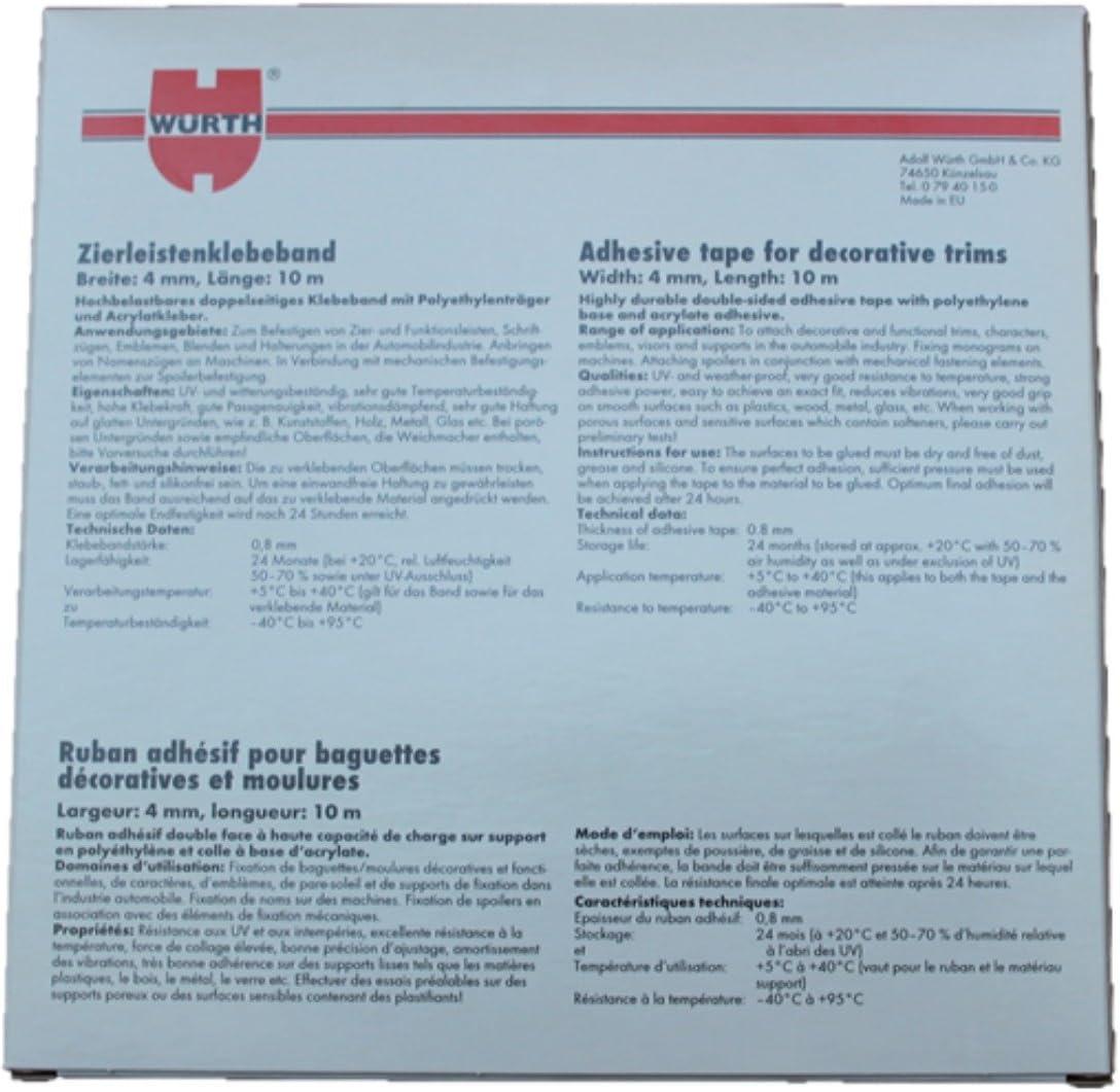 larghezza 19 mm//lunghezza 10 m W/ürth modanature nastro adesivo