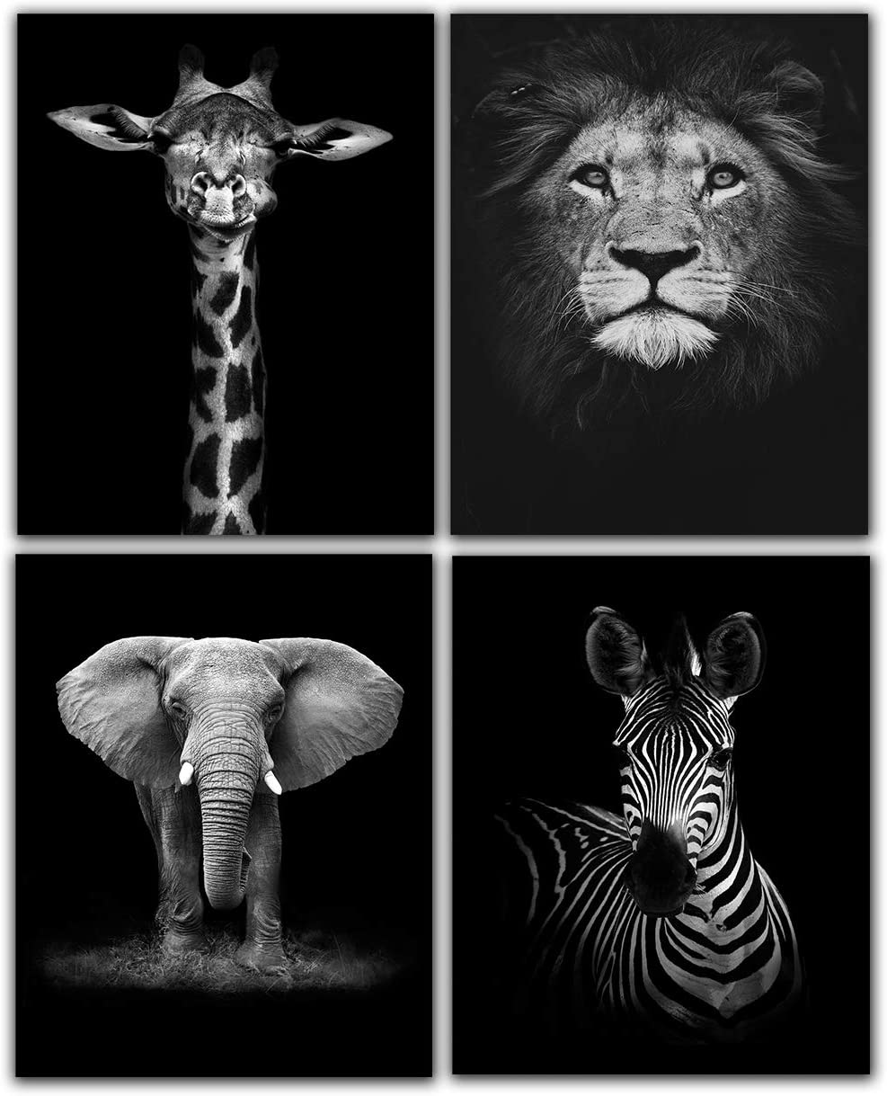 """Modern Black and White Décor Canvas Wall Art,Animals Picture Prints,Lion,Elephant,Zebra,Giraffe Painting Printed on Canvas,Wall Decoration 8""""x10"""" Unframed Set of 4 Prints"""