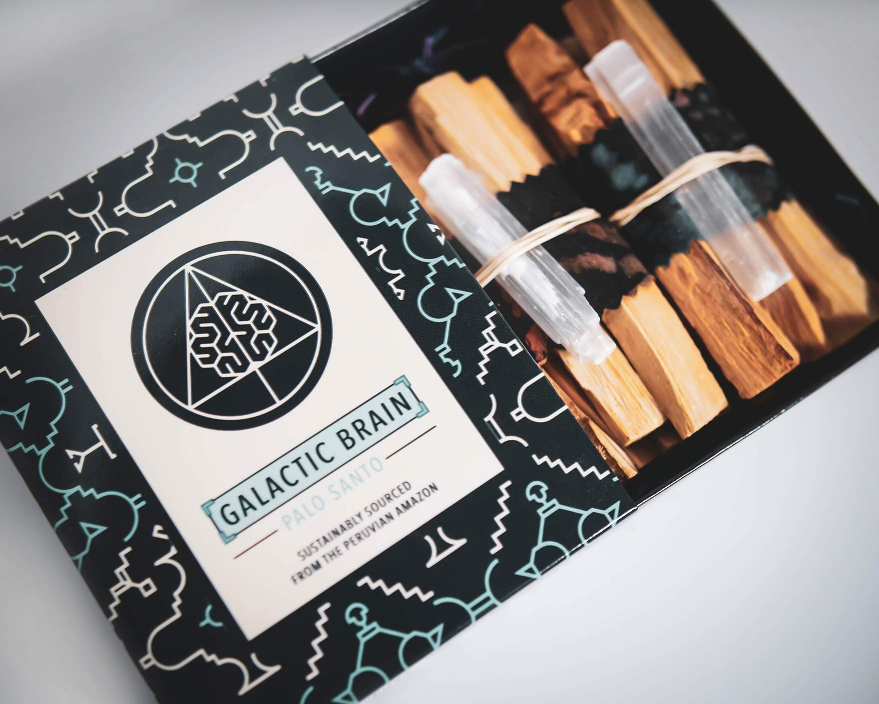 Galactic Brain Palo Santo Sticks | 12 High Resin Smudge Sticks Bundled with Selenite Stones | 90 Grams Palo Santo Wood for Cleansing Your Home by Galactic Brain (Image #2)