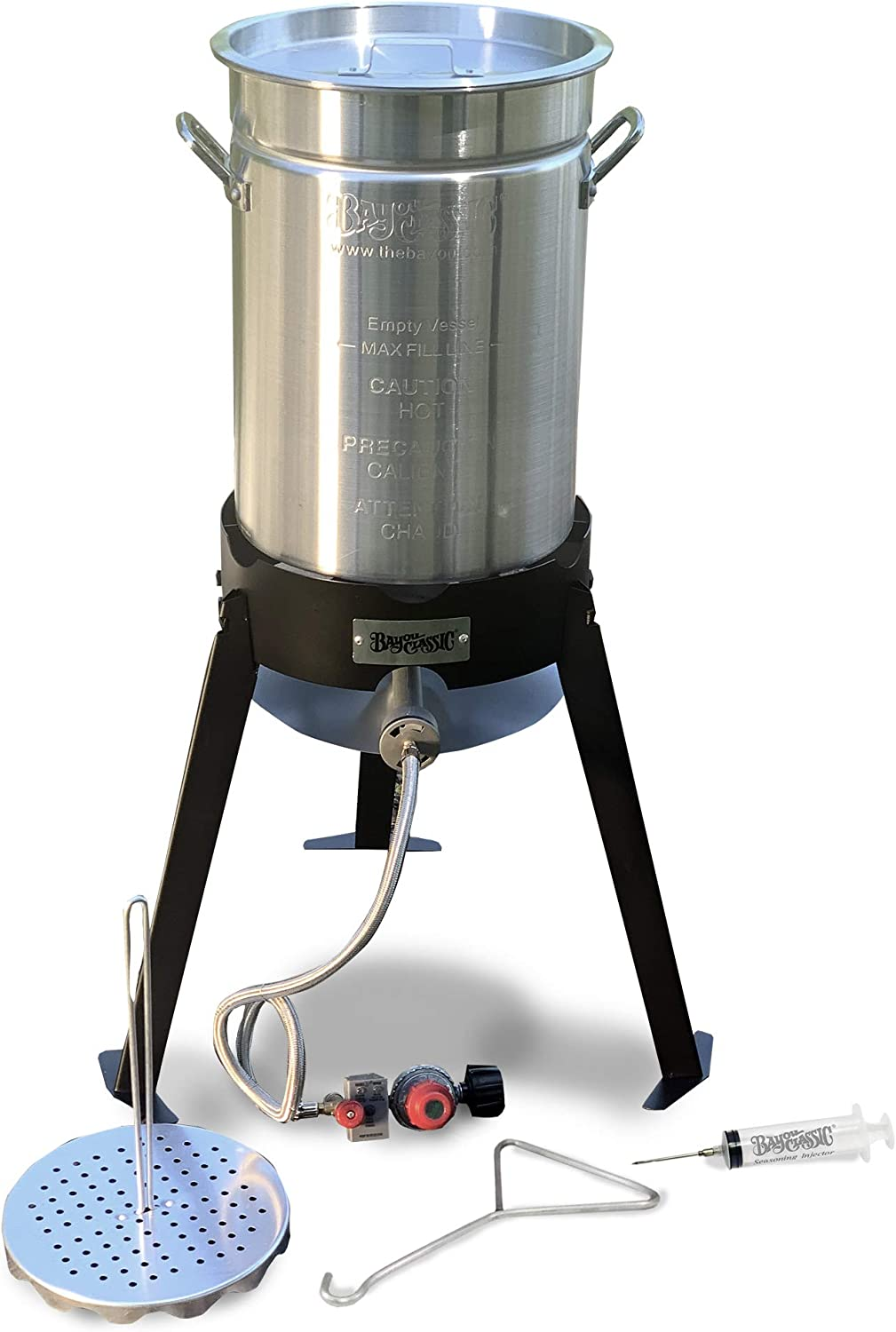 "Turkey Fryer Complete Kit 30 Quart Aluminum Fry Pot with 19"" Tall Steel Cooker Frame All Frying Accessories"