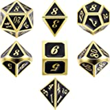 TecUnite 7 Die Metal Polyhedral Dice Set DND Role Playing Game Dice Set with Storage Bag for RPG Dungeons and Dragons D&D Math Teaching (Golden Mysterious Black)