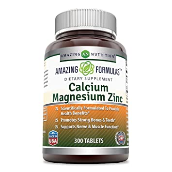 Amazing Nutrition Calcium Magnesium Zinc Dietary Supplement * 300 Tablets per Bottle * (Calcium-