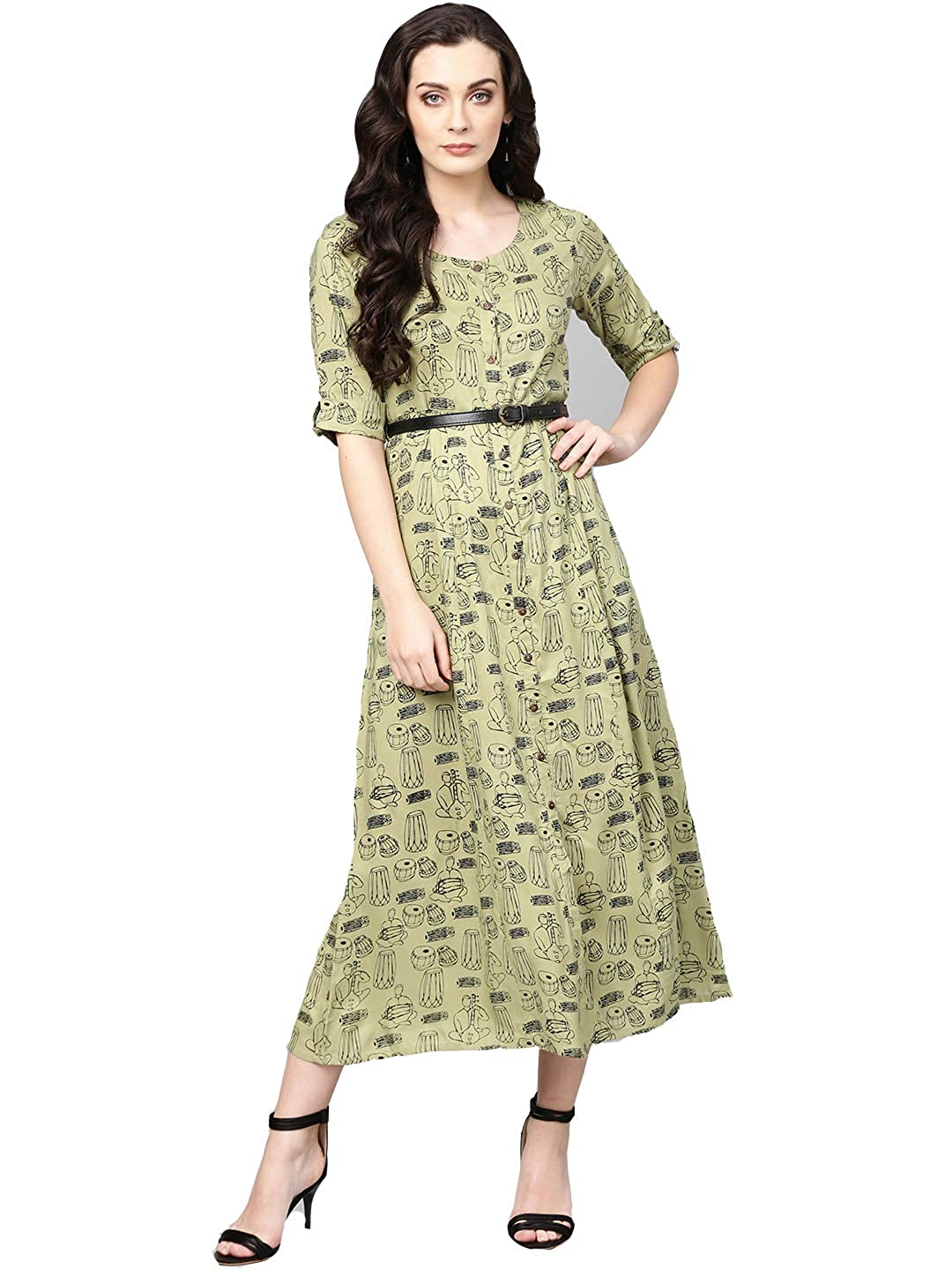 62cbe2f5ca Varanga green printed flared Dress with a belt.  Amazon.in  Clothing    Accessories
