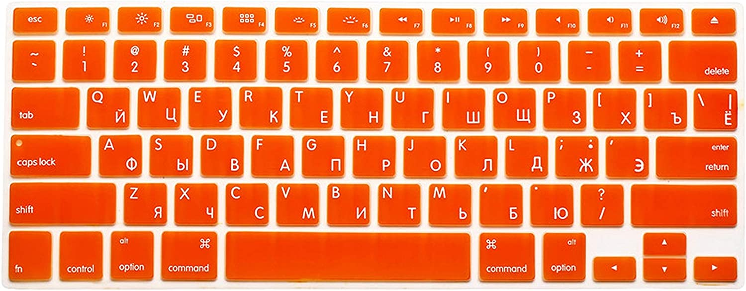 iwreuir Compatible for Us Version Russian Language Letter Silicone Keyboard Cover for MacBook Air 13 Pro 13 15 17 Retina Keyboard Protector Sticker,Yellow