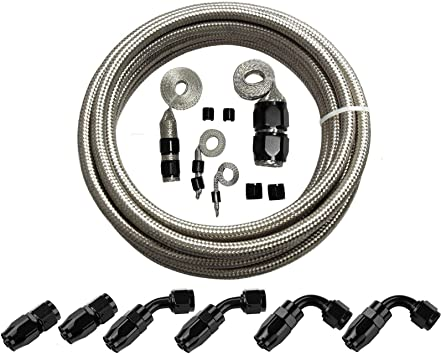 AN-6   40 In Long Stainless Steel Braid PTFE Hose//black straights NC