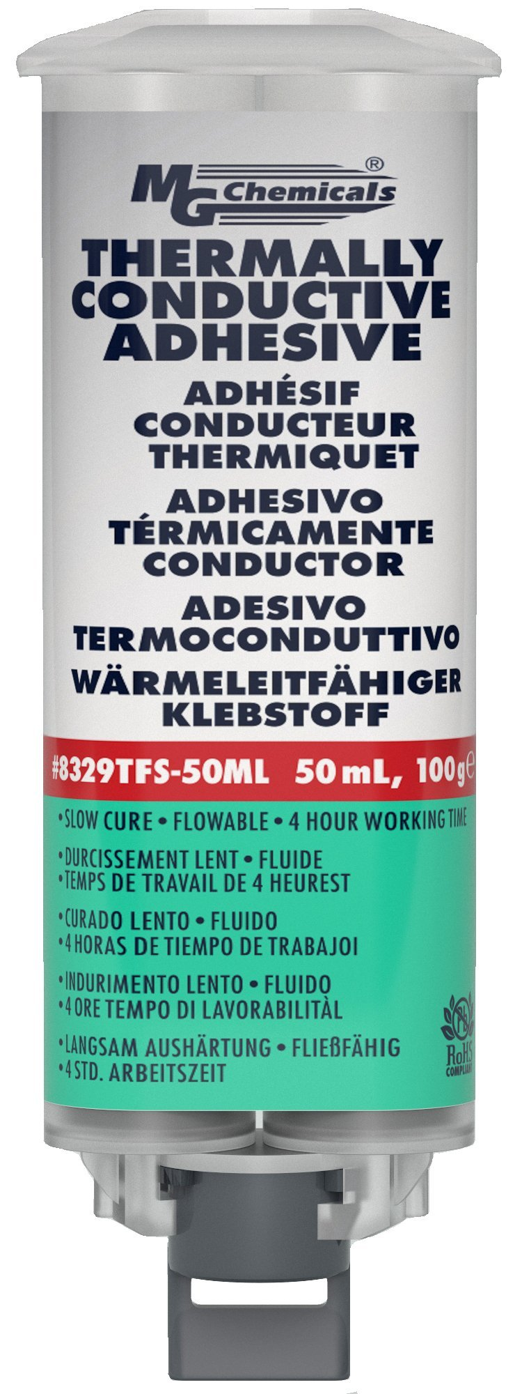 MG Chemicals 8329TFS Thermally Conductive Adhesive, Slow Cure, 45 milliliters Dual Pneumatic Dispenser