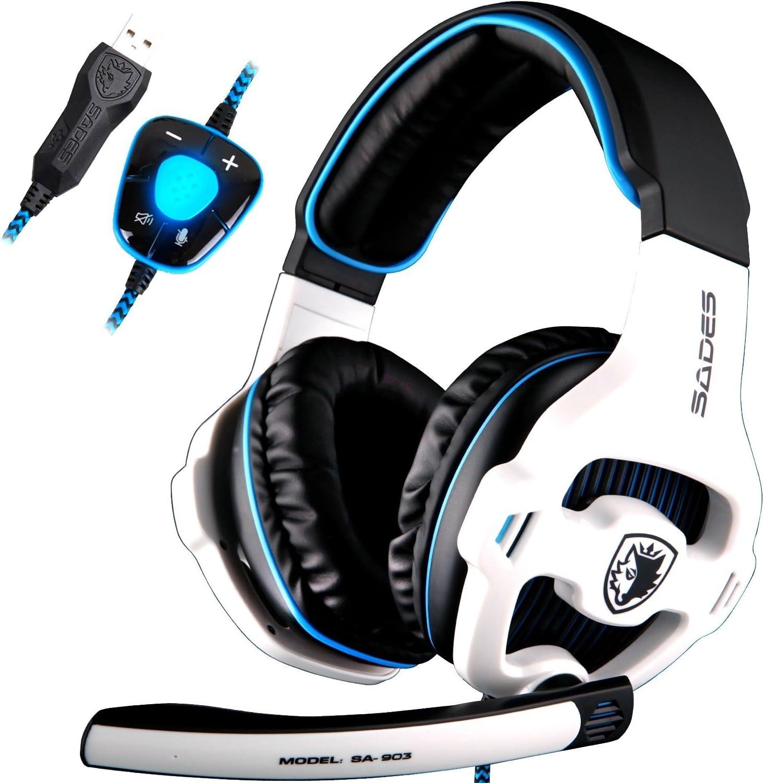SADES SA903 7.1 Surround Sound Stereo Pro USB de la PC Gaming Headset Auriculares Diadema con micrófono Deep Bass Over-The-Ear Control de Volumen LED Luces para Jugadores de PC (Blanco)