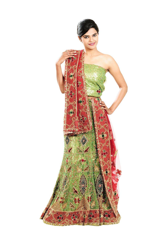Indian Lehenga Choli For Women Party Wear Green Designer Traditional