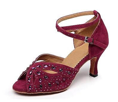 Miyoopark , Damen Tanzschuhe , rot - Burgundy-7.5cm Heel - Größe: 35