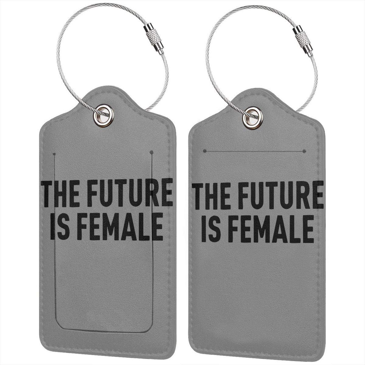 The Future Is Female Pu Leather Double Sides Print Luggage Tag Mutilple Packs 1pcs,2pcs,4pcs