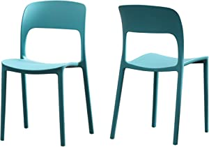 Christopher Knight Home 306514 Dean Outdoor Plastic Chairs (Set of 2), Teal