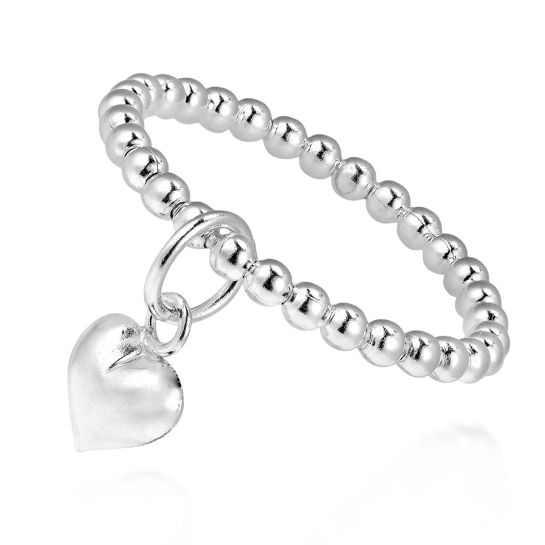 Adorable Heart Dangle Eternal Love Beaded Sterling Silver Ring