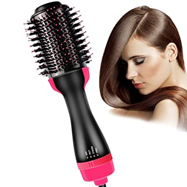 Hair Dryer Brush, Bongtai Hot Air Brush One Step Hair Dryer & Volumizer 3 in 1 Hair Dryer Brush Styler for Rotating Straightening, Curling, Salon Negative Ion Ceramic Blow Dryer Brush