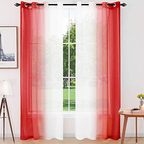 Naturoom Red Ombre Sheer Curtains Faux Linen Grommet Light Filtering and Privacy Sheer Gradient Window Curtain Pair for Bedroom Living Room, Set of 2 Panels Each 52 x 95 Inch, Red