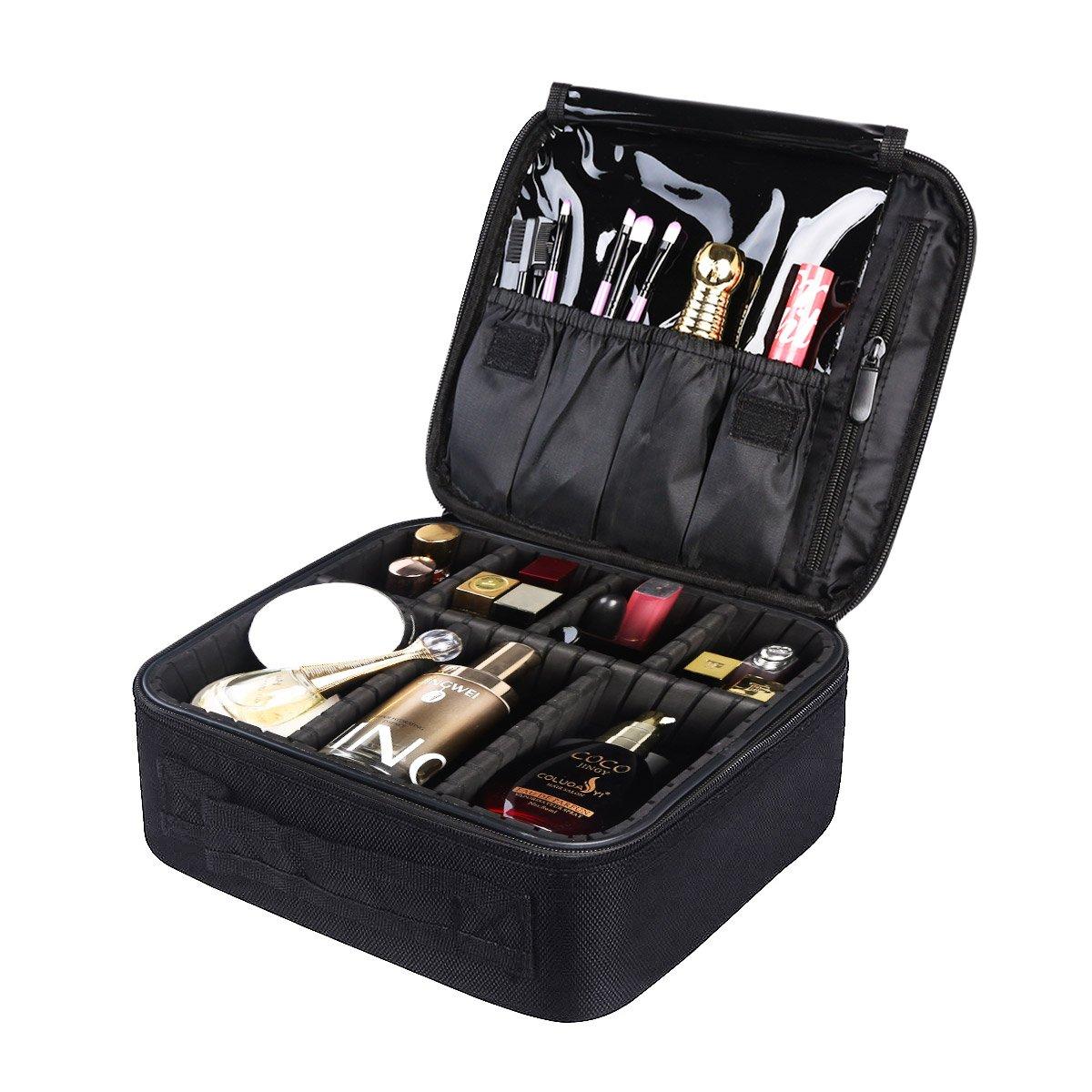 Custodia per il trucco portatile PDR Custodia portatile per il trucco Custodia cosmetica per il trucco Custodia per il trucco Accessori da viaggio Accessori digitali (nero).
