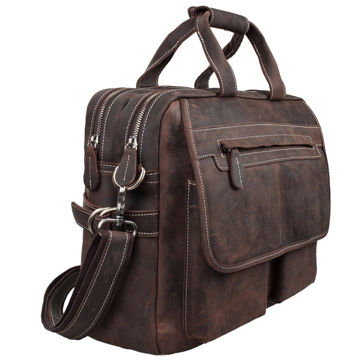 S-ZONE Crazy Horse Leather Shoulder Briefcase for 16 Inch Laptop Bag by S-ZONE (Image #4)