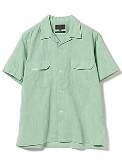 Short Sleeve Cotton Linen Camp Shirt 11-01-0739-139: Green