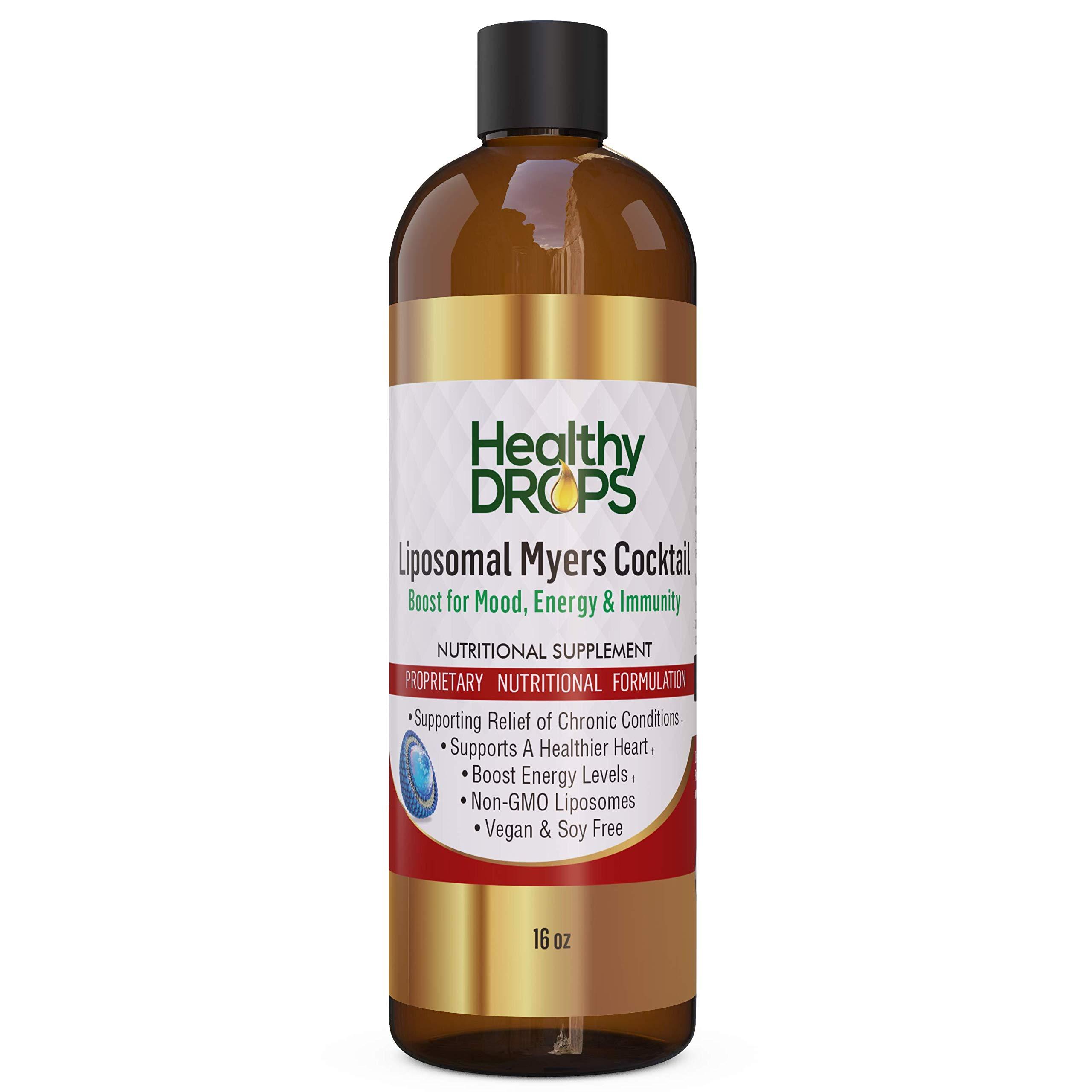 Liposomal Myers Cocktail Non-GMO Non-Soy 16 oz Rejuvenating Liquid Multivitamin Supplement Restores Energy Levels - Providing The Highest bio-Availability