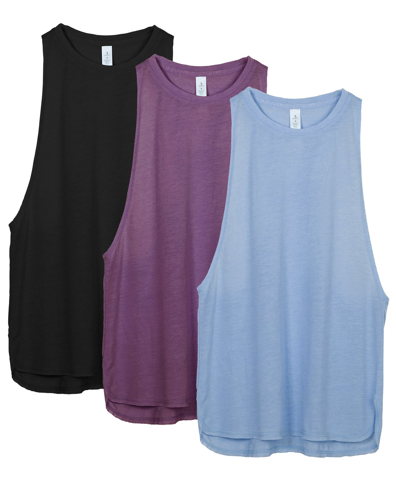 icyzone Workout Tank Tops for Women - Running Muscle Tank Sport Exercise Gym Yoga Tops Running Muscle Tanks(Pack of 3) (XS, Black/Grape/Sky Blue)