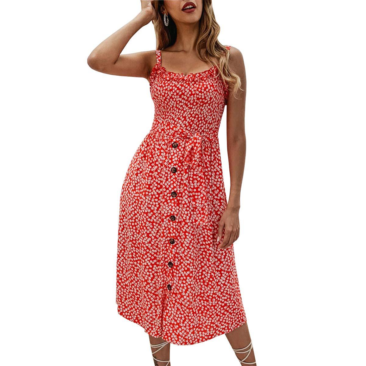 Womwear Women's Floral Button Down Dress Boho Spaghetti Strap Swing Midi Dress Semi-Backless Cocktail Party Long Dress Summer Outfits Tie Waist Beach Sundress with Pockets