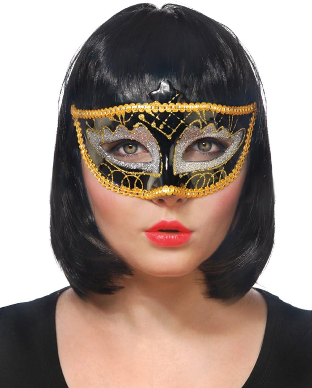 Maschera VENEZIANE CON GLITTER ORO ARGENTO PARTY Carnevale Ballo In Maschera Occhi Maschera