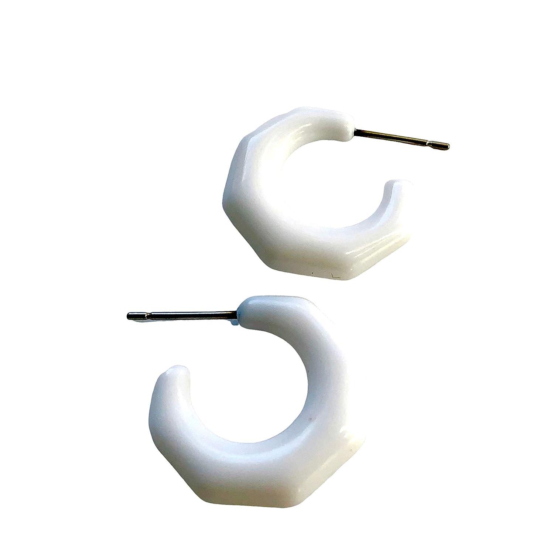 White Faceted Scalloped Mini Hoop Earrings