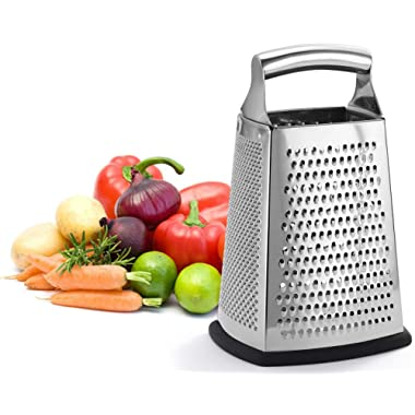 Professional Box Grater, 100% Stainless Steel with 4 Sides, Best for Parmesan Cheese, Vegetables, Ginger, XL Size