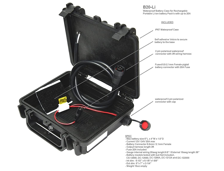Elephant K100 Custom Made Kayak Battery Box Waterproof Floating Wiring Harness Case For Powering Gps Fish Finders