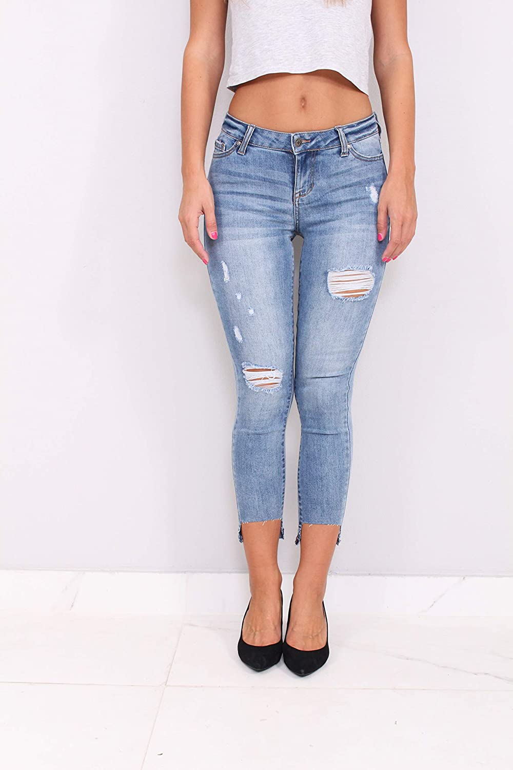 10c047b7dc8 Celebrity Pink Jeans Women Middle Rise Distressed Ankle Skinny Jeans with  Step Release Hem at Amazon Women's Jeans store