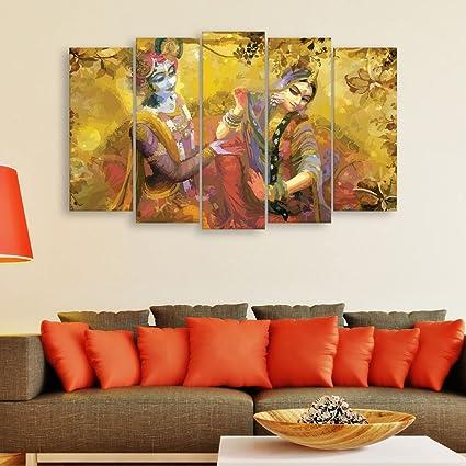 Inephos Multiple Frames Beautiful Radha Krishna Wall Painting (150 cm x 76  cm, Set of 5, Multicolour)