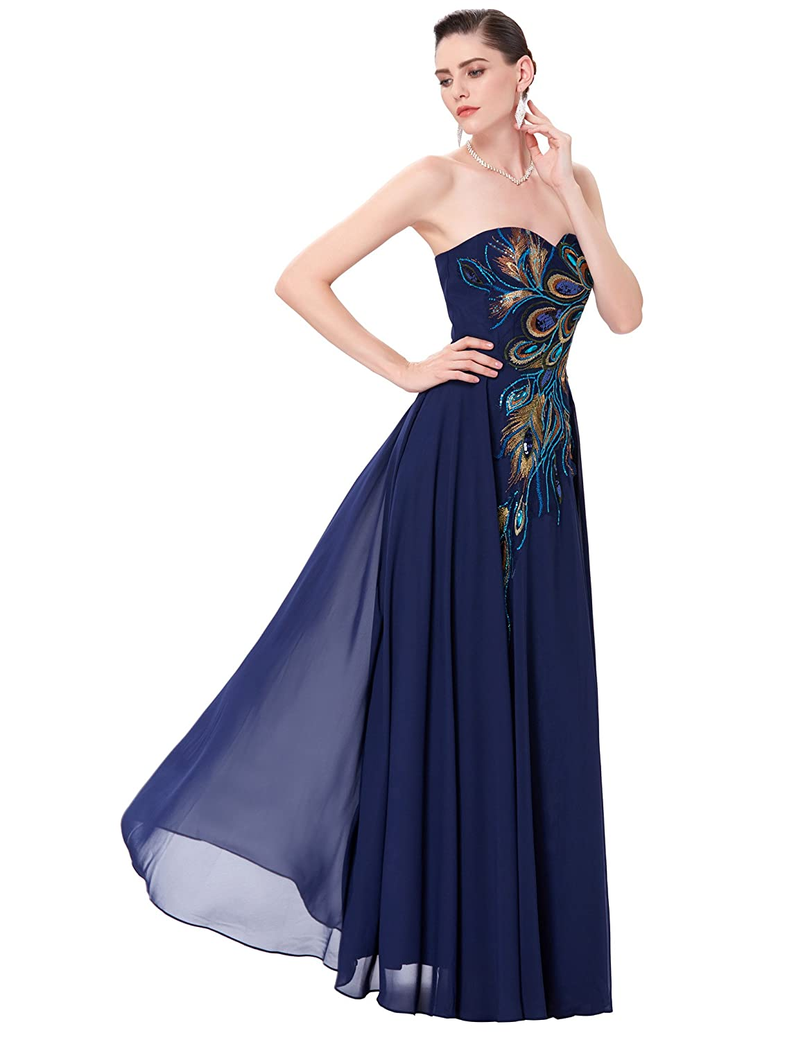 1891577233 Amazon.com  GRACE KARIN Long Strapless Embroidery Prom Dress A-line CL6168  (Multi-Colored)  Clothing