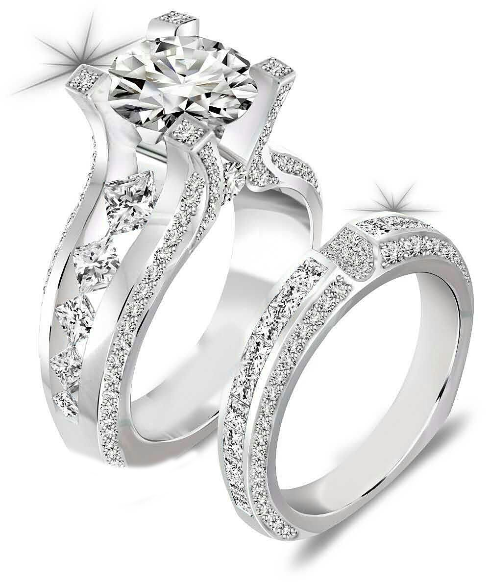 Newshe Jewellery 3ct Round Cz 925 Sterling Silver Wedding Band Engagement Ring Sets Size 8