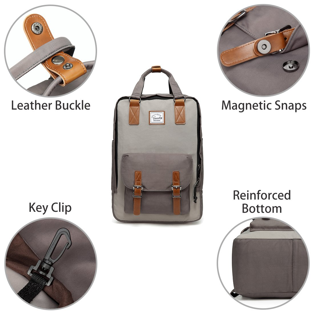 Amazon.com: School Backpack,VASCHY Unisex Vintage Water Resistant 15in Laptop Backpack Bookbag for College Gray: VaschyDirect