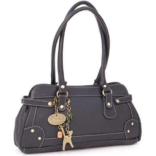 e7f29fb535a5 Catwalk Collection Handbags - Women s Leather Top Handle Shoulder Bag -  CARNABY STREET - Black