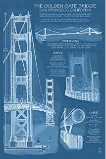 Amazon space needle technical drawing blueprint 12x18 art golden gate bridge technical blueprint 12x18 art print wall decor travel malvernweather Image collections