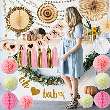 Amazoncom Girl Baby Shower Decorations Pink And Gold Complete