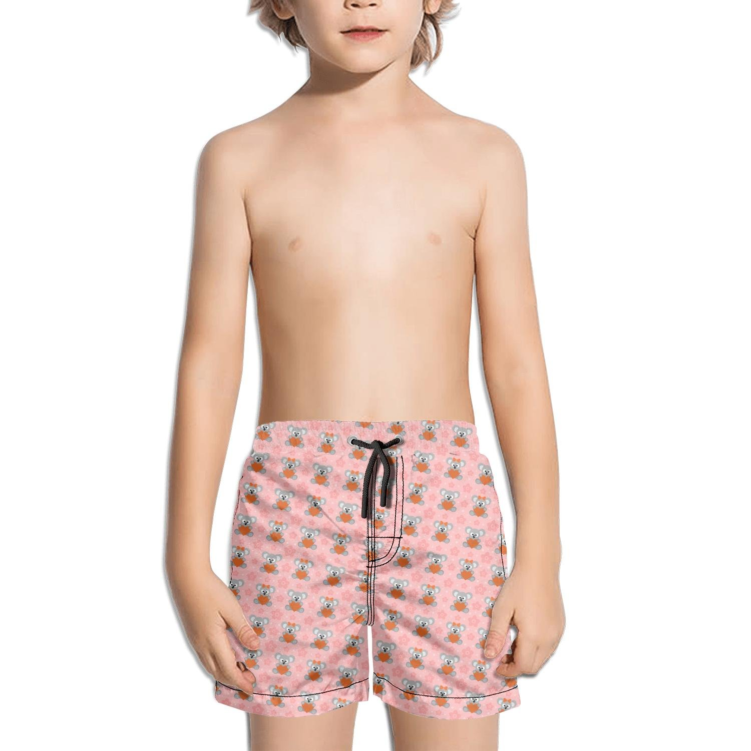 Ina Fers.Quick Dry Swim Trunks Cute Koala with Flower and Heart Pink Shorts for Boys