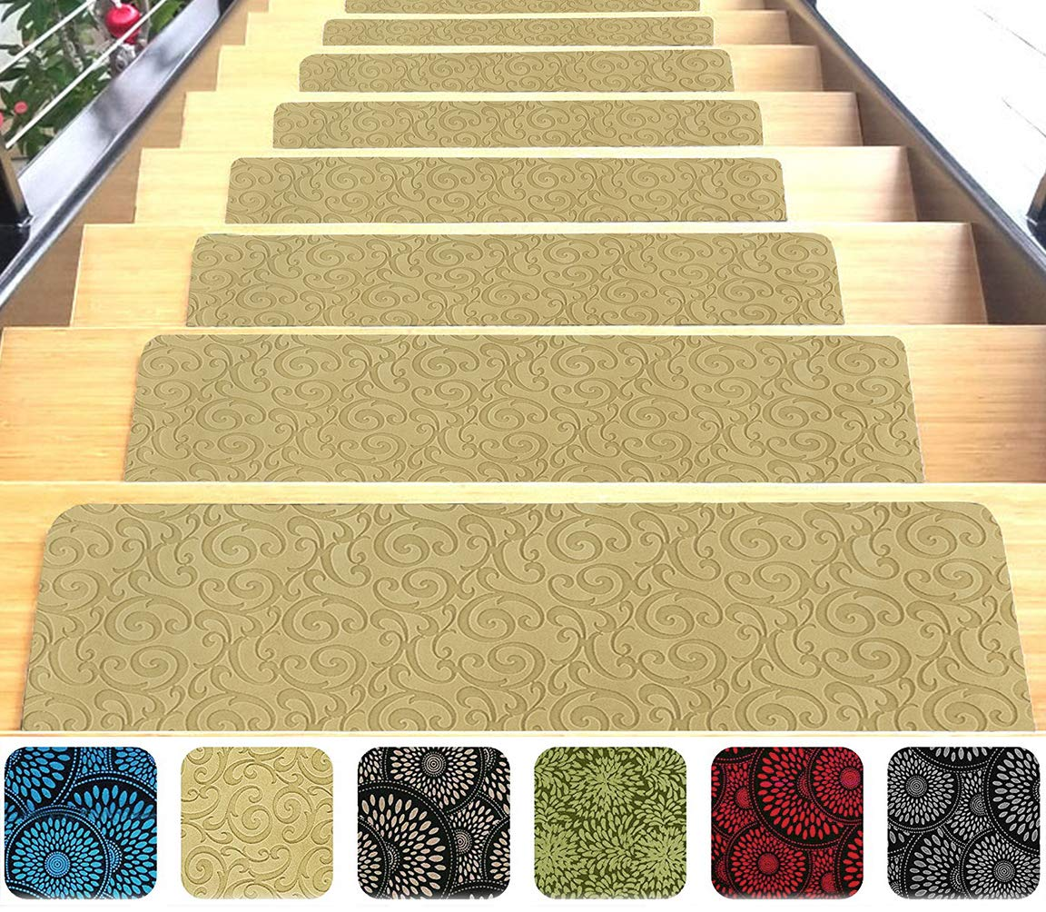 Indoor Stair Mats | Set of 14 | Beige 9''x26'' | Ultra-Thin Microfiber Stair Carpet with Slip-Resistant Rubber Backing | Washing Machine Safe | Quick and Easy to Install | Premium Quality by Shape28
