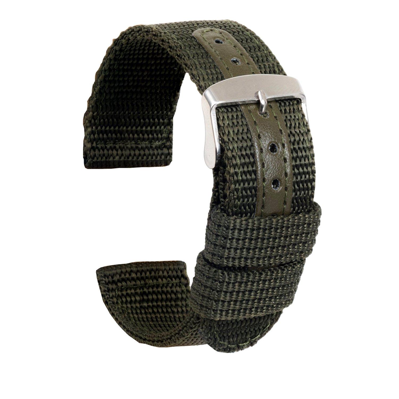 ullchroナイロン時計ストラップ交換用キャンバス時計バンドMilitary Armyメンズレディース腕時計ブレスレット 18mm アーミーグリーン 18mm アーミーグリーン アーミーグリーン 18mm B077D3NJXG