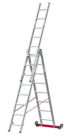 Escalera multiusos de aluminio de 3 piezas, cada una con 12 peldaños enrollables.: Amazon.es: Industria, empresas y ciencia