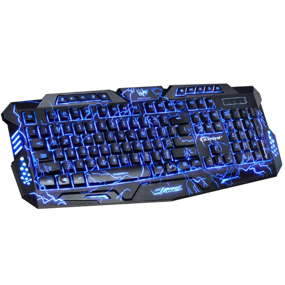Backlit Gaming Keyboard, BAVIER Laser Carving Characters Keyboard,Wired Backlighting Keyboard,114keys Ergonomic Keyboard, Adjustable Backlight Red Purple Blue, Switchable Crack Backlit (Black)