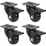GBL® Black 4 x Heavy Duty 50mm Rubber Swivel Castor Wheels Furniture Table Garage Trolley Caster Brake Industrial Caster