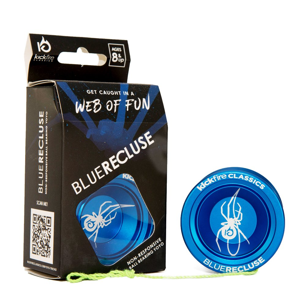 Blue Recluse Non Responsive Ball Bearing YoYo by KickFire Classics | Best Pro Trick Blue Metal Yo Yo | 2 Extra Poly Nylon Strings | Great Velocity & Spin | Perfect Gift for Beginners,Pros, Girls Boys