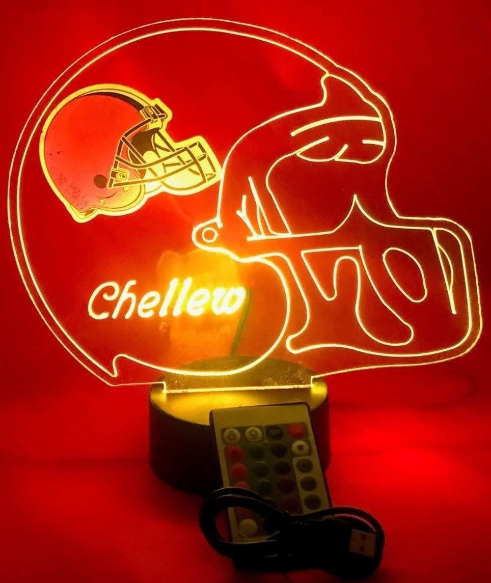 Cleveland Browns NFL Light Up Lamp LED Light Up Football Personalized Lamp LED Table Lamp, Our Newest Feature – It s Wow, with Remote, 16 Color Options, Dimmer, Free Engraved, Great Gift