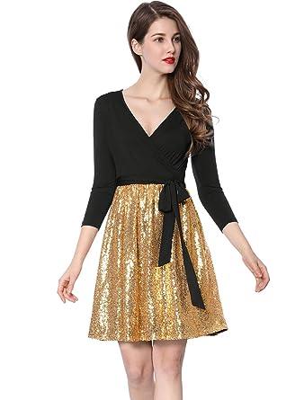 2e2fcb42f2 Allegra K Women s V-Neck Sequin Panel Party Wrap Dress with Belt XS Gold  Black