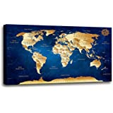 """Wall Art Blue map of The World Painting Ready to Hang -30"""" x 60"""" Pieces Large Framed Wall Art World Map Canvas Art Map…"""